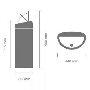 poubelle mecanique Brabantia Touch Bin 40 dimensions