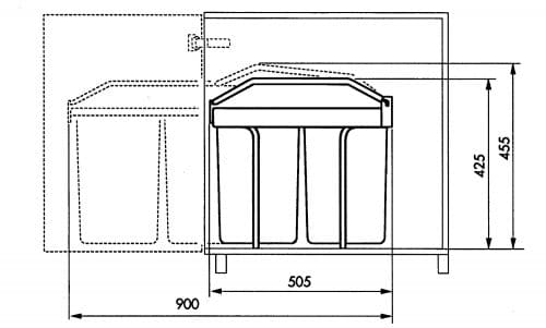 Hailo 3659 poubelle encastrable 2x15 L dimensions