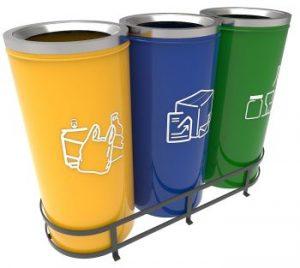 poubelle tri selectif ronde metal