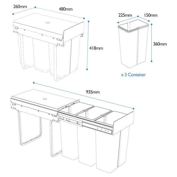 poubelle 1home 30l dimensions coulissante sous evier tri selectif