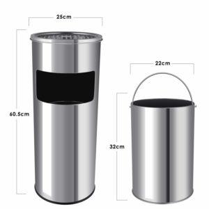 Poubelle cendrier Homfa 30 litres taille